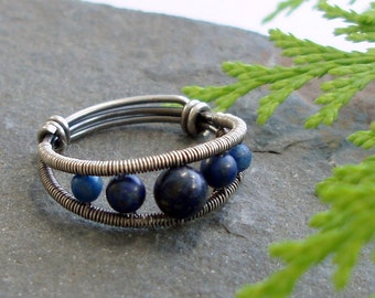 Crescent - 5 bead ring - sterling Silver and Lapis Lazuli ring - silver wire wrapped ring