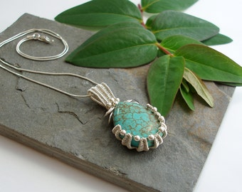 Turquoise Oyster Cup Pendant - Sterling silver and Turquoise pendant - wire woven pendant