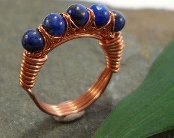Kiss Kross Ring - Lapis Lazuli - copper wire wrapped ring
