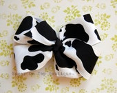 Black and White Cow-print Bow