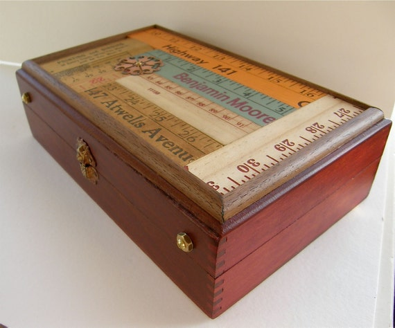 Pencil Box, Art Supply Box, Desk Organizer, Vintage Rulers, Wood