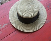 Vintage early 1900s Victorian straw fly fishing boater hat with tent lithograph label