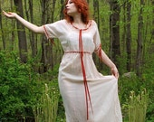 Vintage early 1900s Edwardian red wine dyed cotton dimity tatted lace ribbon dress