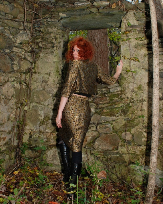 Vintage 50s silk metallic gold, silver, copper brocade pencil skirt and bolero jacket bohemian suit