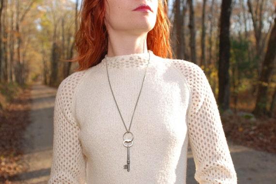 Vintage 70s St. John Knits crotchet fishnet mesh peek-a-boo white sweater mini dress
