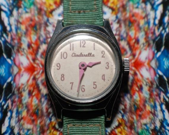 vintage 50s pink us time cinderella disney childrens wrist