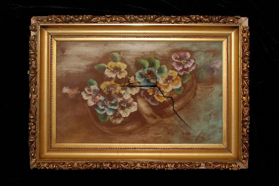 Vintage filigree sculpted painted gold leaf picture frame 20s painting finding upcycle
