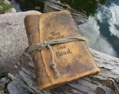 Rustic leather journal personalized guest book with brown craft paper Vintage look