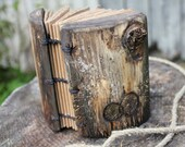 Coptic stich rustic wood journal  5 1/2 x 4 with 2 Trees of life
