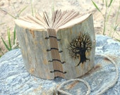 SALE Coptic stich rustic wood journal  7  x 5  Tree of life
