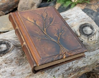 Leather wedding guest book Tree of life Bridal Shower Anniversary Engagement Vintage look journal