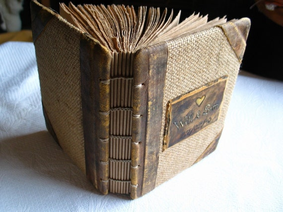 Rustic wedding guest book leather and burlap 7 1/4 x 5 1/2  with names and date