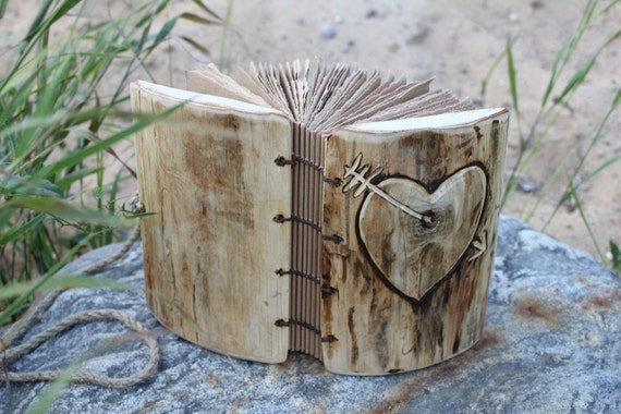 Rustic wood journal with heart and arrow 7 x 5 Coptic stitched