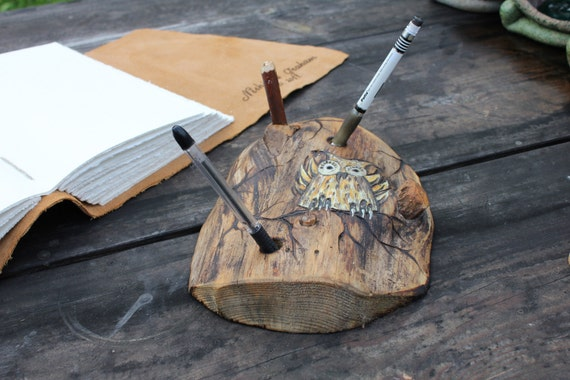 Large natural wood  pen holder with owl and branches RESERVED for psmock
