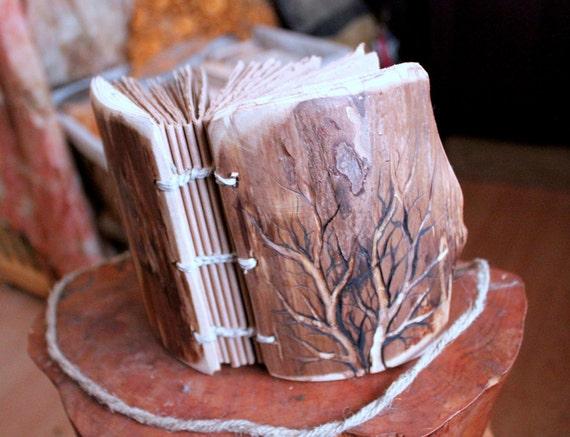 Coptic stich rustic wood journal  5 1/2 x 4
