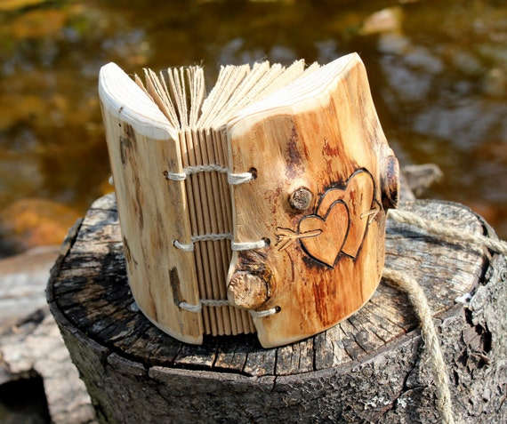Rustic Wood journal with 2 hearts and arrow Coptic stich 5 1/2 X 4