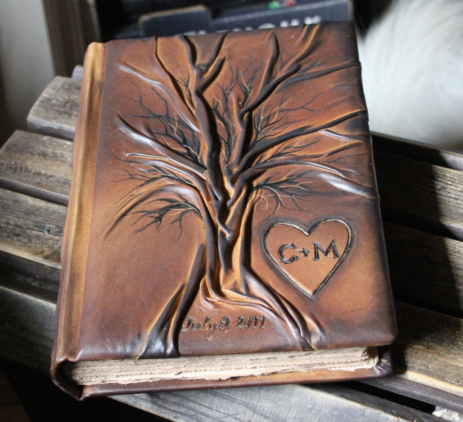 Custom Leather Wedding Guest Book Tree Of Life Bridal Shower