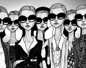 Girls in Glasses 8inX11in Art Print