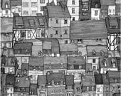 City Rooftops Black and White 8in X 8in Art Print