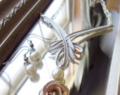 Upcycled Gold and Cream Faux Pearl and Metal Rose Drop Down Necklace and Earring Set