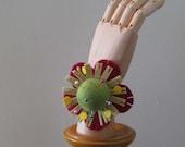 Green Felt Ball Flower Pin Cushion Wristlet