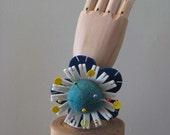 Blue Felt Ball Flower Pin Cushion Wristlet