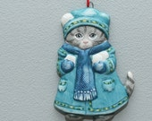 Vintage 1980s Kitty Cucumber Ceramic Ornament