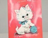 Vintage Kitten Greeting Card - pink unused