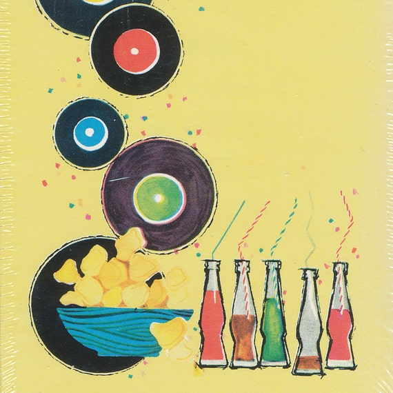 Vintage Birthday Party Invitations - 1980s era with records and soda bottles - pack of 10