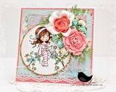 Think of You...Handmade Card by Jenn, Shabby Chic, Flowers, Girl