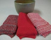 Dishcloths knit in cotton - Red, Red w/Off White, Red w/Black Marl