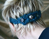 Turquoise crochet headband with  3 buttons