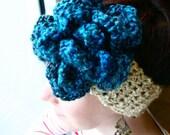reserved for BEACHIEINOK turquoise crochet flower headband earwarmer