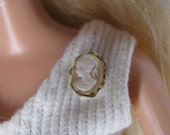 Ivory and Gold Cameo Brooch Pin  Doll Jewelry Barbie Fashion Royalty Blythe Tonner