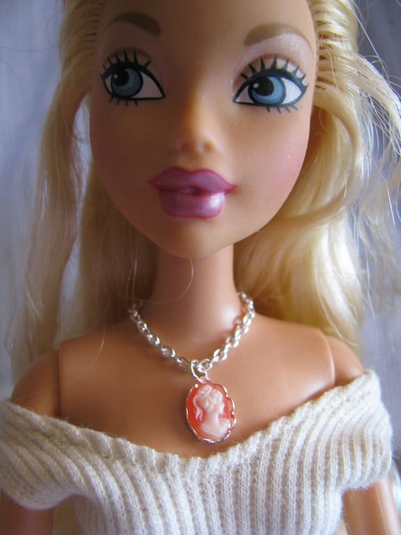 Carnelian and Silver Cameo Necklace Doll Jewelry Barbie Fashion Royalty Silkstone Others