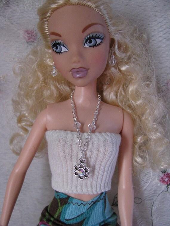 Crystal Flower Doll Jewelry Necklace Swarovski Reverseable
