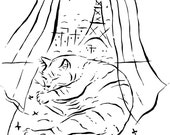 Kitty in Paris-print