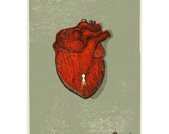 Le Coeur-print, Heart art print, Heart wall art, love wall art,, valentines day gift,