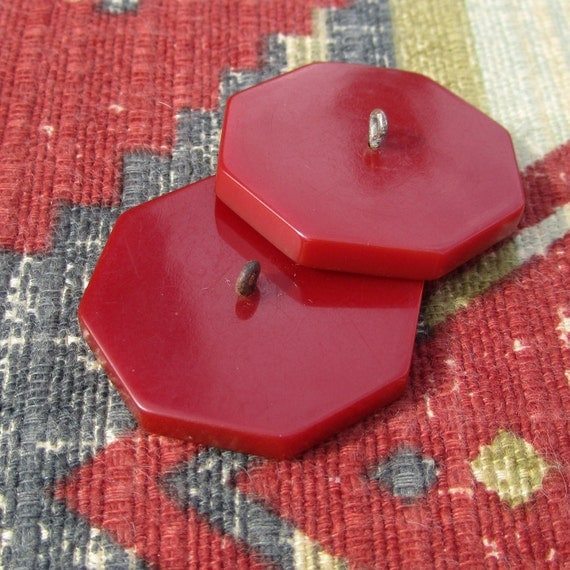 Red Bakelite - antique circa 1940s coat buttons, red celluloid or bakelite, octagon shape