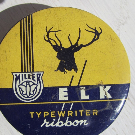Elk - Antique typewriter ribbon tin, small collectible round box, Industrial Mid Century office supply packaging