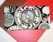 Pottery Print Fabric Checkbook Cover with Debit Card Pocket