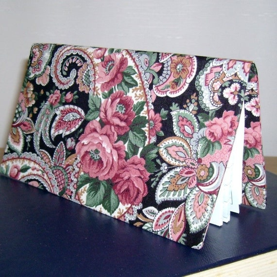 Paisley Roses Fabric Checkbook Cover with Debit Card Pocket