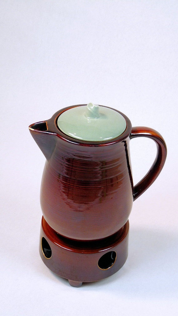Mid-Century Red Wing Village Green Coffee Pot with Warmer