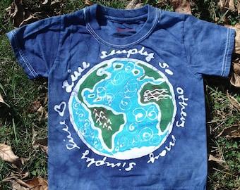 Earth Tee Shirt Recycle Reduce Live Simply Kids Tee Shirt Batik CUSTOM MADE