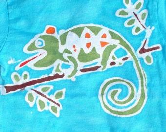 Lizard Tee Shirt Chameleon Kids Batik Tee Shirt CUSTOM made