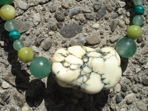 Amazing Lime Green Turquoise Stone Necklace with Jade Adventurine Shell and Howlite
