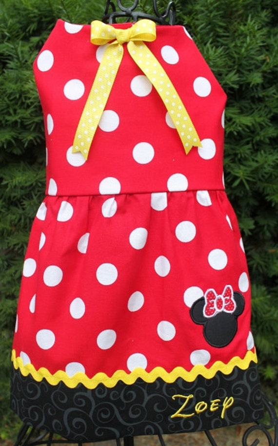 Minnie Mouse Dog Dress W Optional Matching Hair Bows - Personalized
