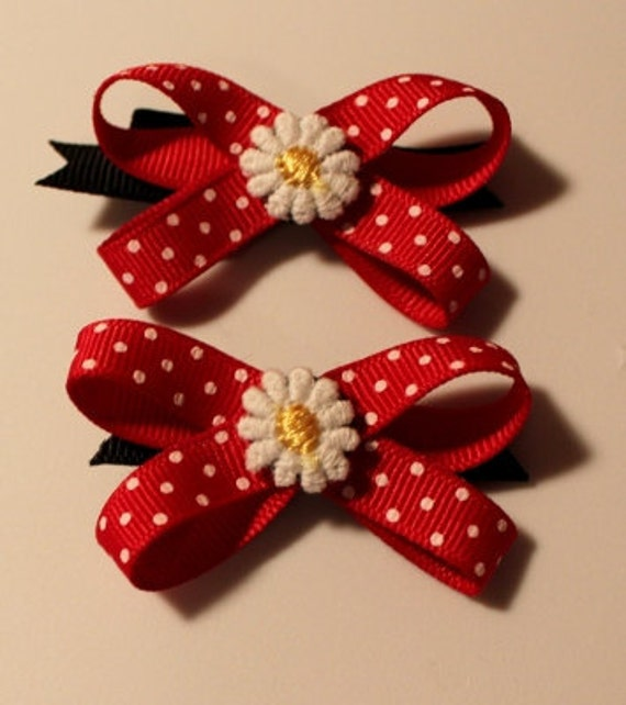 Minnie Mouse Hair Bows for Dogs - Set of 2 or Custom Single Bow