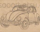 Classic volkswagen beatle -Digital Image Sheet -Original Illustrate Drawing  A4 Transfer Print Pillows, t-shirts, scrapbook, lampshades