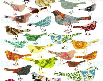 Digital Collage Sheet BirD Die Cut on Vintage Wallpaper  A4 Mixed Media Good for Scrapbook, Art, ACEO, ATC, Pendant etc.